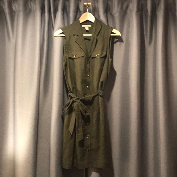 Banana Republic Dresses & Skirts - Banana Republic • Army green linen • shift dress 8